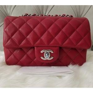 e1db5adf349c CHANEL · CHANEL 18B Raspberry Pink Caviar Rectangle Mini. NWT
